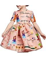 Girls Princess A Line pink playwear Mamma print Party Dresses 2T-7T