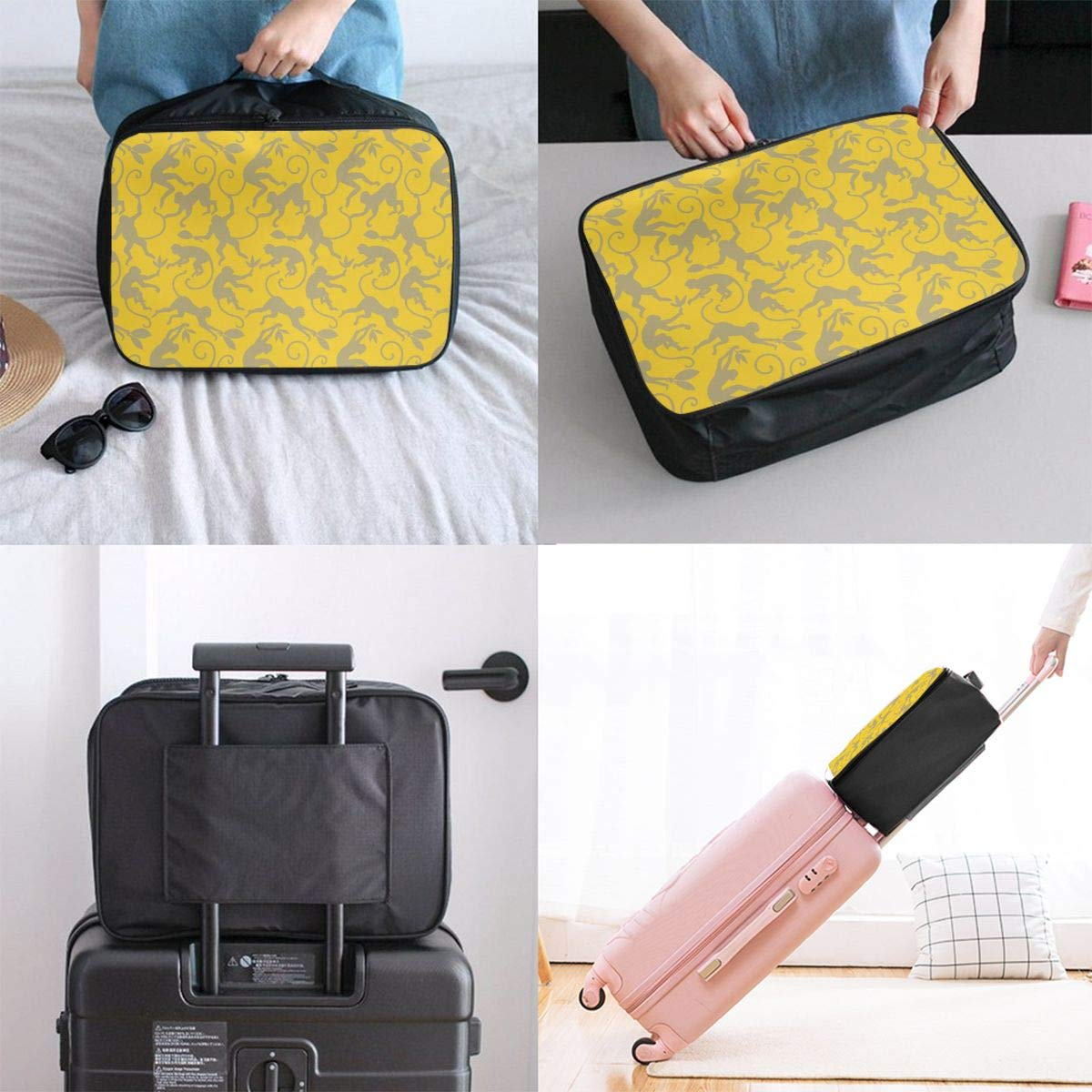 Travel Luggage Duffle Bag Lightweight Portable Handbag Monkey Yellow Painting Large Capacity Waterproof Foldable Storage Tote