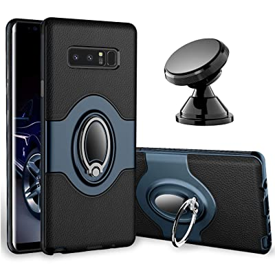 eSamcore Galaxy Note 8 Case - Ring Holder Kickstand Cases + Dashboard Magnetic Phone Car Mount [Navy Blue]: Electronics