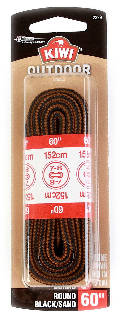 Kiwi Boot Laces, 60-inch, Round, Black/Sand, 48-Pack