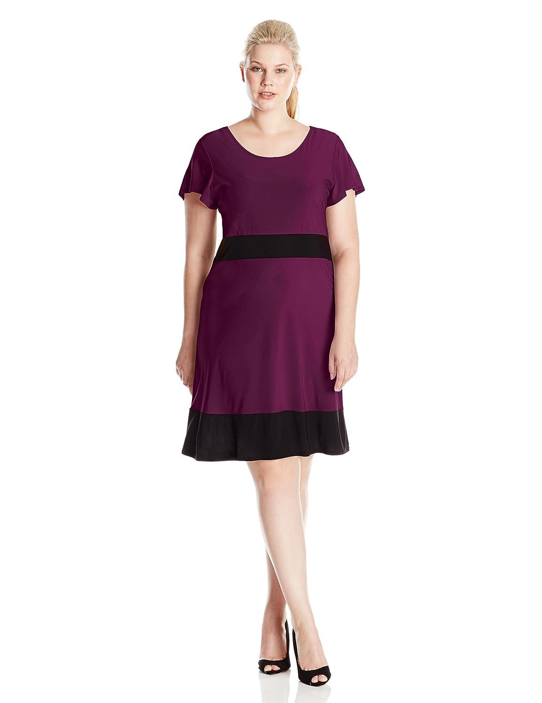 Star Vixen Women's Plus-Size Short Sleeve Colorblock Skater Dress Star Vixen Child Code 3527-ITX