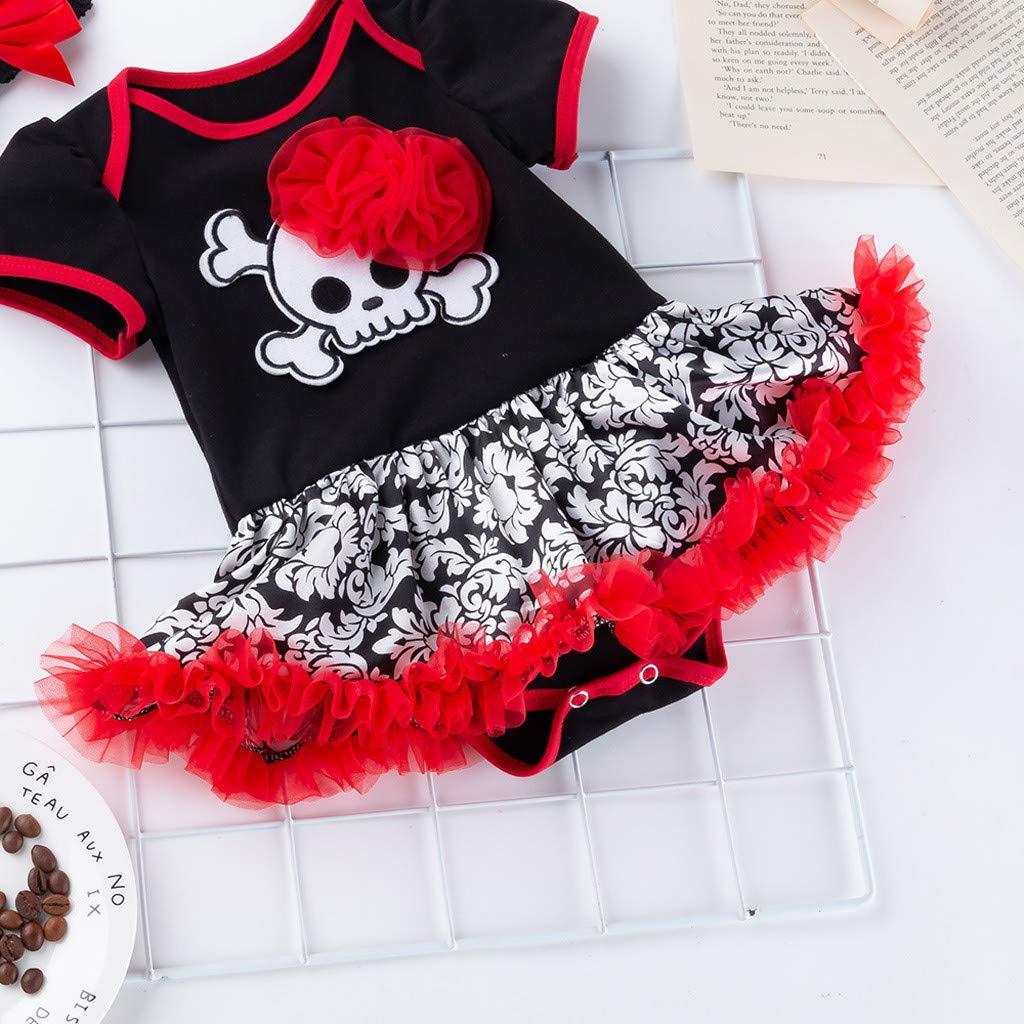 MYONA Vestido de Halloween Nina Diadema Rojo 3M-24M Recien Nacido Bebe Vestido de Mameluco Nina con Impresi/ón de Calavera