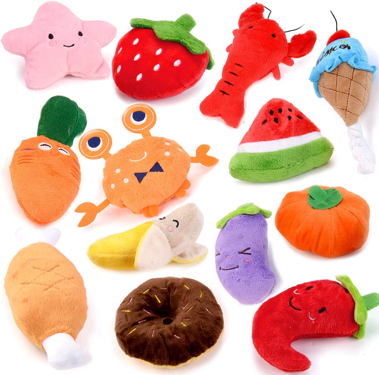 Fansport 13 Pack Dog Squeaky Toys Cute Plush Toys Stuffed Fruits Vegetables Dog chew Toy Squeaky Dog Toys for Puppy Small Dog Pets