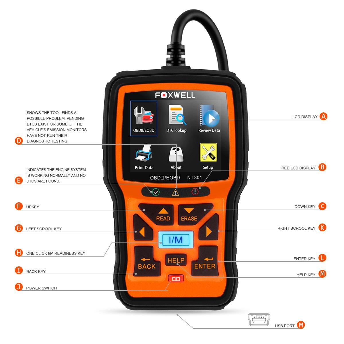 FOXWELL Nt301 Obd2 Code Scanner Universal Car Engine Diagnostic Tool