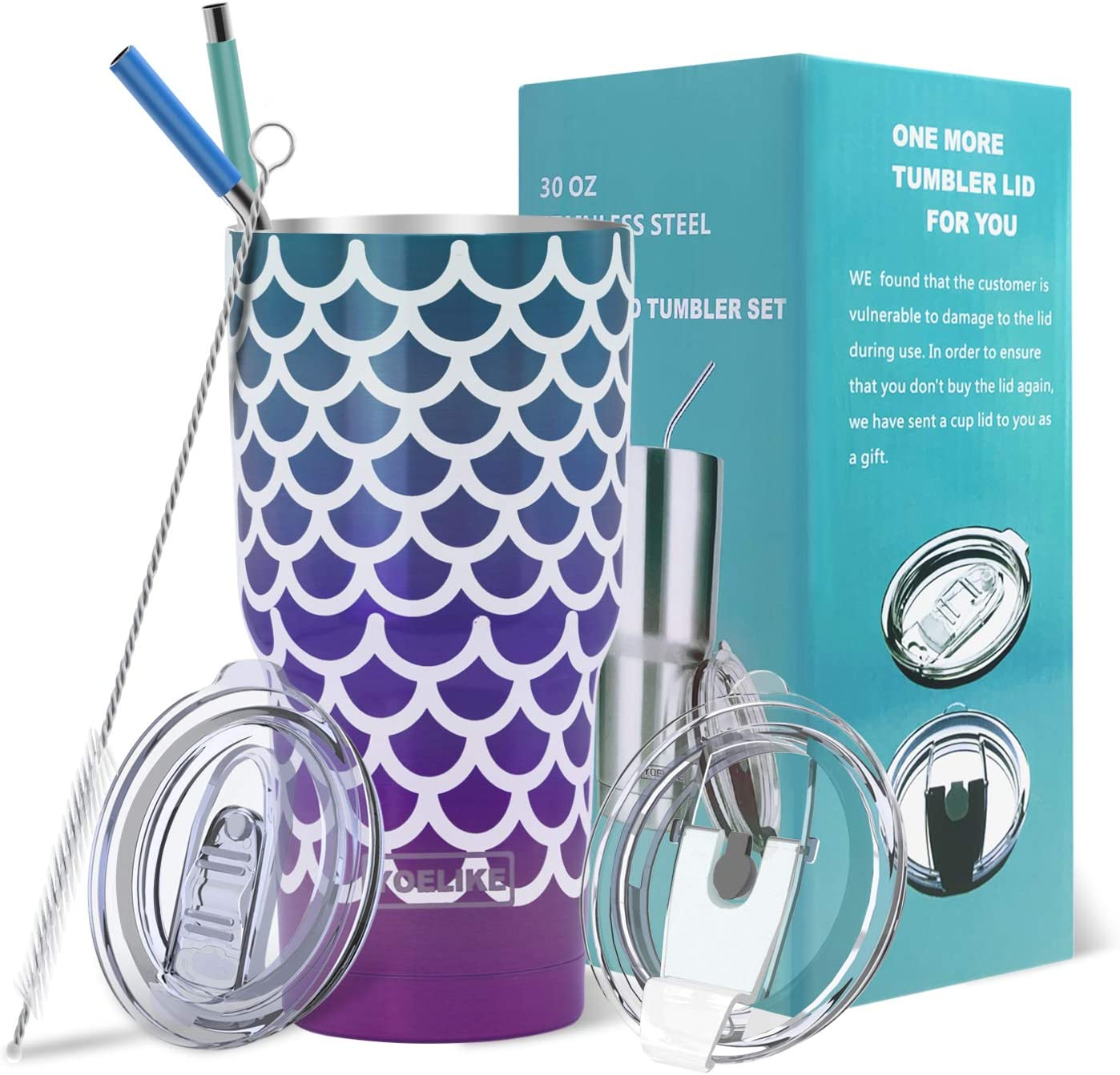 30 oz Stainless Steel Double Wall Vacuum Insulated Mermaid Tumbler