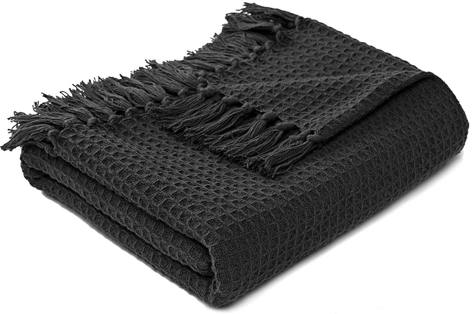 MOTINI Decorative Throw Blanket Dark Cotton Gray Recommended List price Waffle wi