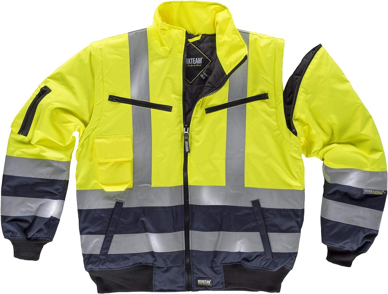 Hombre Work Team Piloto combinada Alta Visibilidad con Cintas Reflectantes EN471