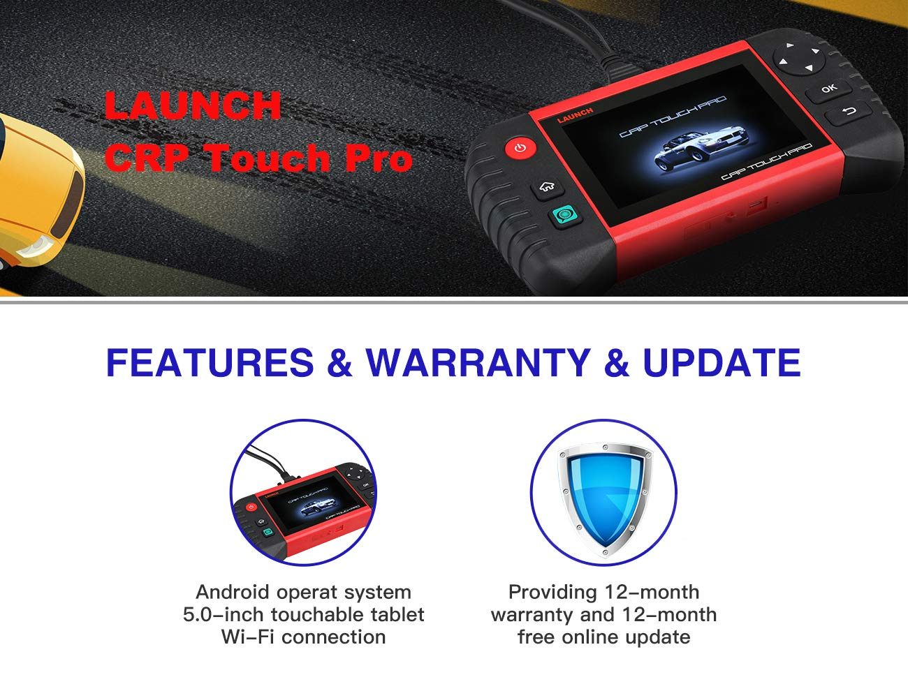 LAUNCH Scan Tool Creader CRP123X OBD2 Scanner Diagnostic Code Reader for Engine Transmission ABS SRS with AutoVIN Service Wi-Fi Updates Based on Android System