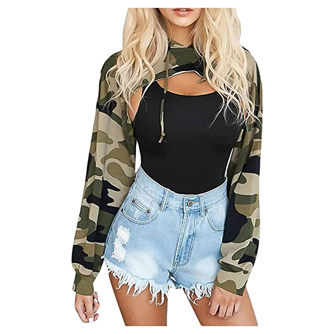 Women Hoodie, Lananas Camouflage Cut Off Front Long Sleeve Ultrashort Sweatshirts Crop Tops Pullover at Amazon Womens Clothing store: