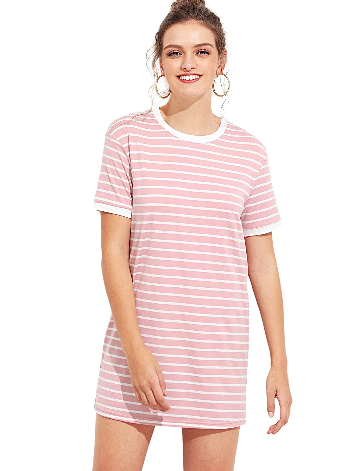 59212f36b2 SheIn Women's Short Sleeve Crew Neck Shift Striped T-Shirt Dress at Amazon  Women's Clothing store: