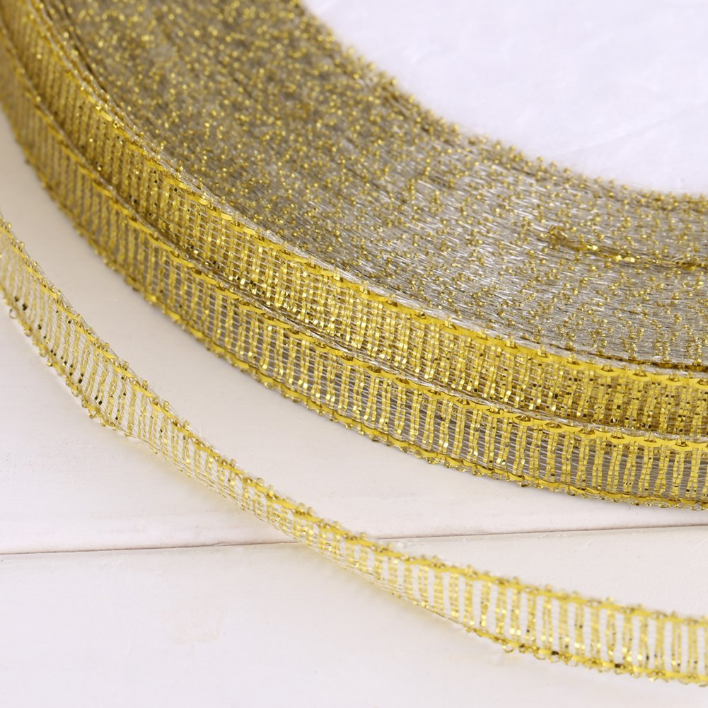 25yards// roll 7mm Gold//Silver Satin Ribbon Gold Gift Wrap DIY Bow Party Home Wedding Decoration Wrapping Crafts Satin Ribbon