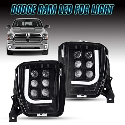 Dodge Ram LED Fog Lights with Daytime Running Lights, Clear Lens Fog Lamps for 2013 2014 2015 2016 2020 2020 Dodge Ram 1500: Automotive