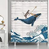 Funny Cat Shower Curtain, Cat Riding Whale in Ocean Wave on Vintage Wooden Bathroom Curtains, Oriental Fabric Vintage…