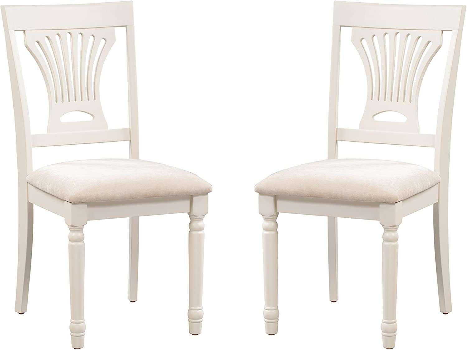Trithi Furniture Portland Wood Ivory White Kitchen Dining Chairs with Upholstered Seat, Set of 2