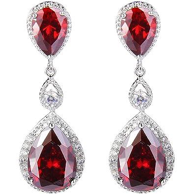 EVER FAITH® Women's Bling CZ Austrian Crystal Bridal Teardorp Pireced Dangle Earrings Silver-Tone GHsCKb