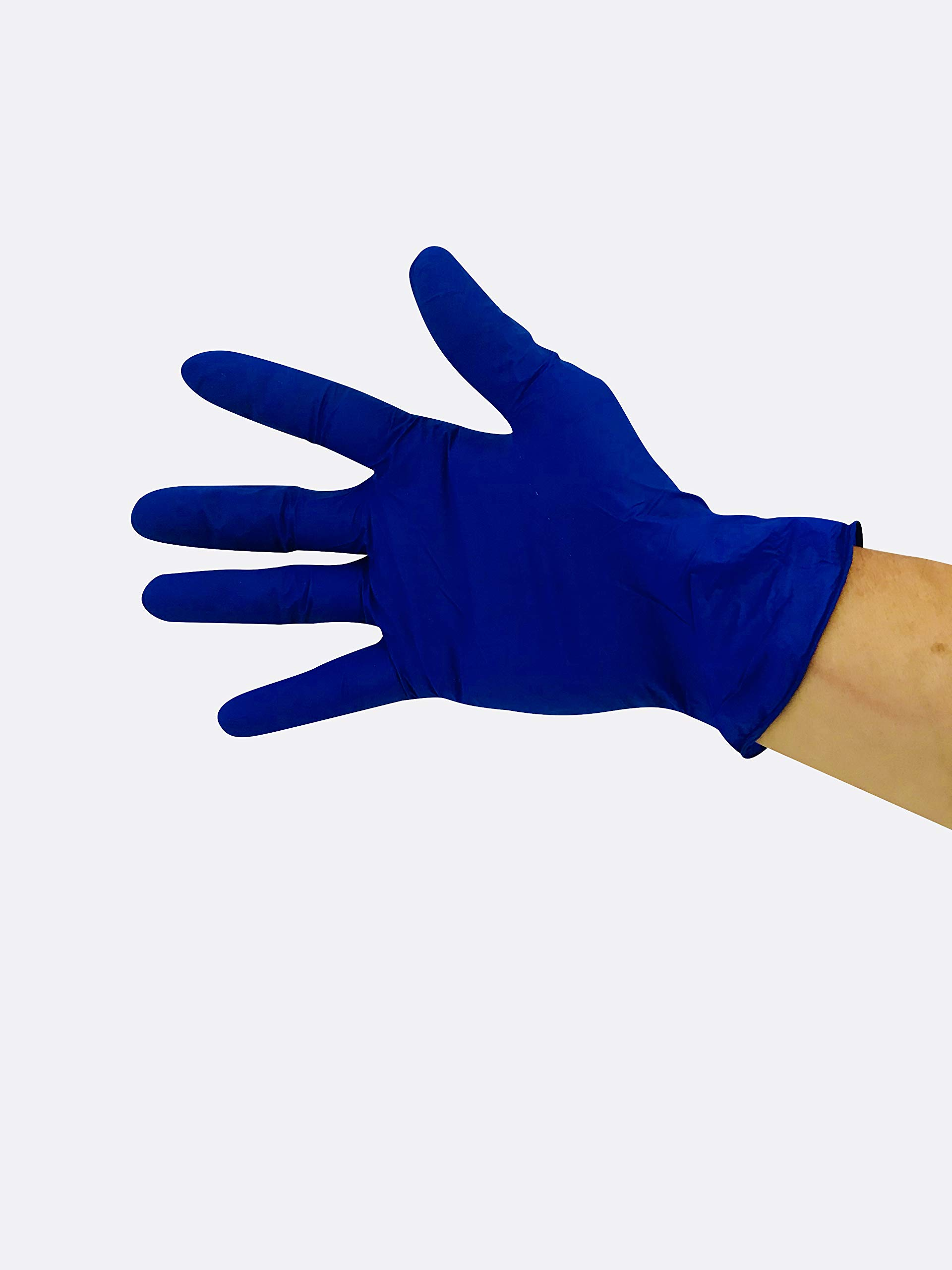 KingSeal UltraBlue Cobalt Indigo Blue Disposable Gloves, 4 mil, Latex-Free, Textured, Size X-Large - 4 boxes of 100 each (400pcs total) by KingSeal (Image #3)