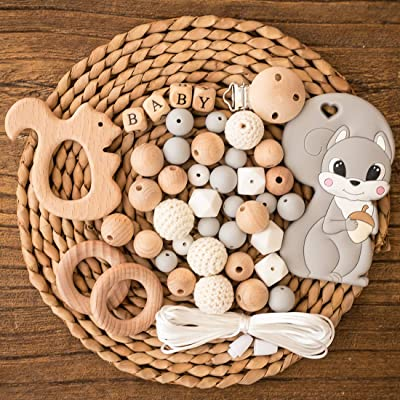 Let's Make Baby Teether Food Grade Chew Silicone Set with Wooden Pacifier Clip Crochet Beads DIY Baby Teething Necklace Newborn Gift: Toys & Games