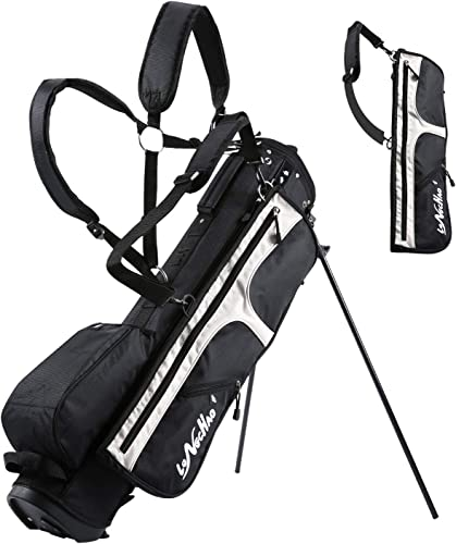 LONGCHAO Golf Bag for Men- Black White Stand Golf Bag Lightweight 4 Way Top – Detachable Cute Backpacks Removable Rain Hood,Hybrid Walking Golf Bag with Stand