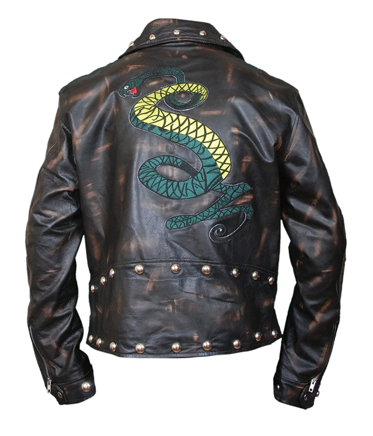 F&H Men's Fallout Tunnel Snakes Rule Genuine Cowhide Leather Jacket