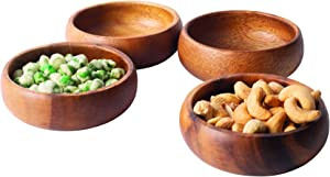 Gifteey Natural Acacia Wooden Hand-Carved Round Calabash Dip Bowls, Perfect for Dips Sauce, Nuts, Appetizers, Desserts, Decoration, Candy, Set of 4