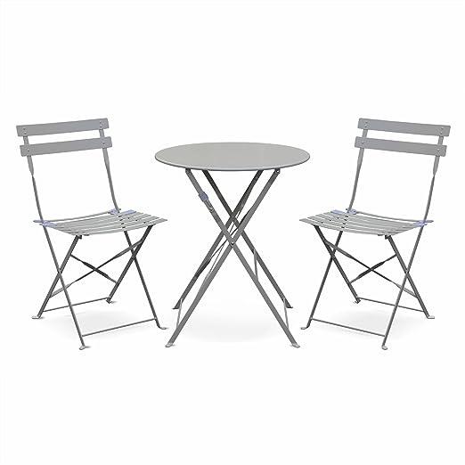 Salon de Jardin bistrot Pliable - Emilia Rond Gris Taupe - Table Ø60cm avec  Deux chaises Pliantes, Acier thermolaqué