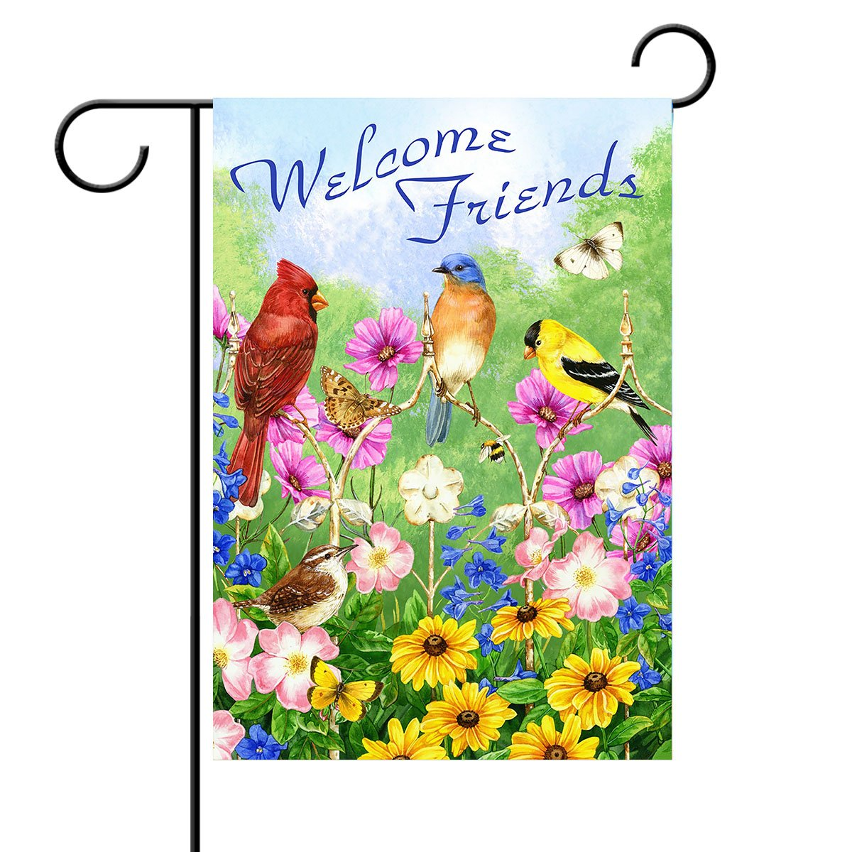 Amazon Com Alaza Welcome Friends Birds Flowers Butterfly Double