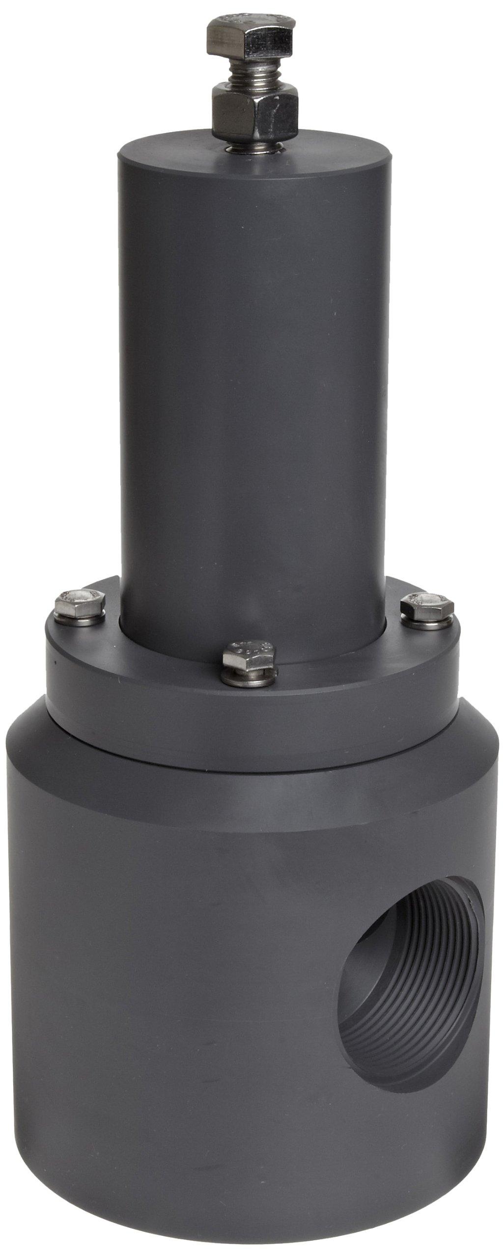 Plast-O-Matic RVT Series PVC Relief Valve, For Acids and Highly Corrosive Liquids, 5-100 psi Pressure Range, 1'' NPT Female