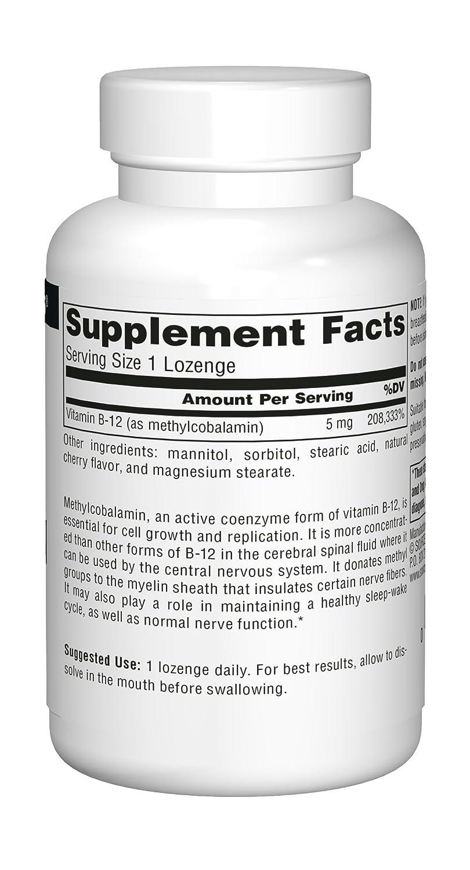 Source Naturals MethylCobalamin Vitamin B-12, Cherry Flavored, 5 MG,120 Tablets: Amazon.es: Salud y cuidado personal