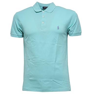 Ralph Lauren Polo piqué Vert Pastel Slim fit pour Homme  Amazon.fr   Vêtements et accessoires 3764ee494683