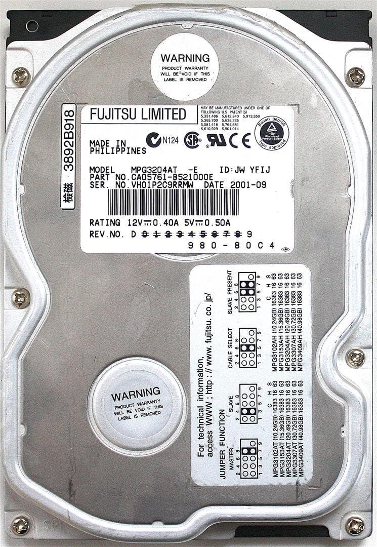 Fujitsu HDD 20.4GB MPG3204AT CA05761-B521000E