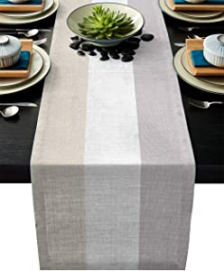 Custom Bed USA Geometric Table Runner Dresser Scarf 13x90inch Linen Burlap Table Runners Non-Slip Heat Resistant Cloth Placemat Home Decor for Wedding Banquet Decoration - Ethnic Stripes Modern Art
