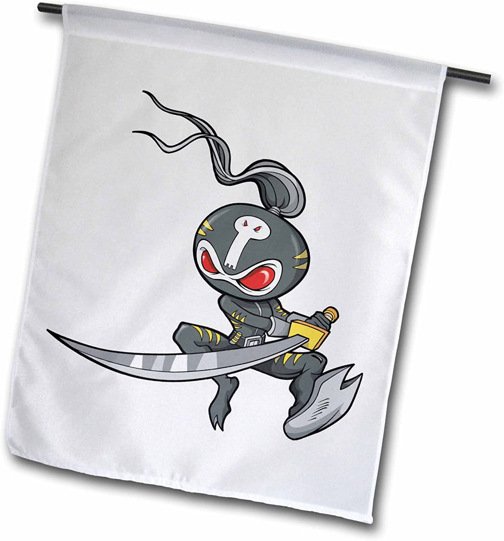 3dRose fl_102264_1 Ninja Monster Cartoon Character Garden Flag, 12 by 18-Inch