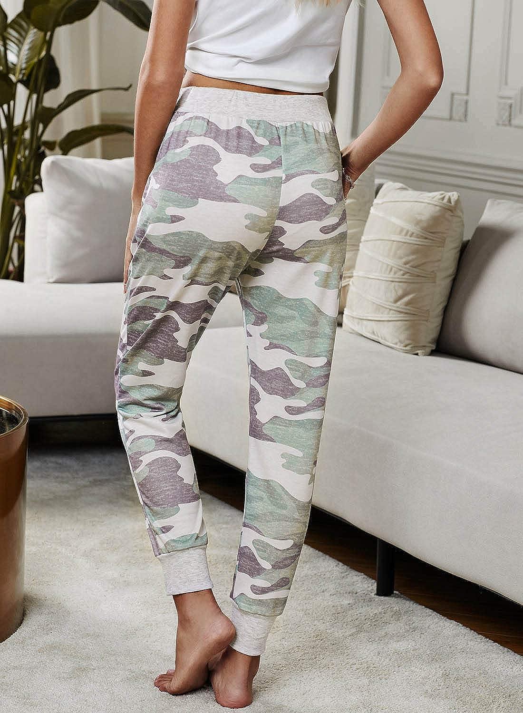 onlypuff Womens Athletic Running PantsCasual Elastic Waist Pants Drawstring with Pockets