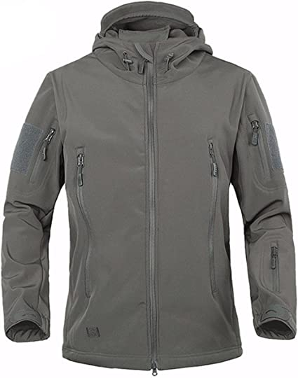 TACVASEN Chaqueta impermeable para hombre con capucha y bolsillos con cremallera