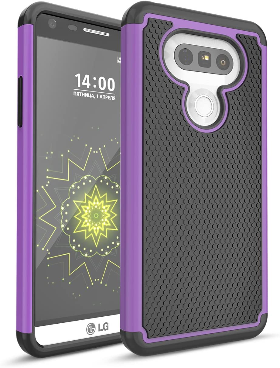 LG G5 Case, TILL Shock Absorbing Hybrid Dual-Layer Defender Rugged Slim Case Soft Interior Silicone Bumper Hard Solid PC Back Cover Shell For LG G5 Phone AT&T T-mobile Sprint Verizon Unlocked [Purple]