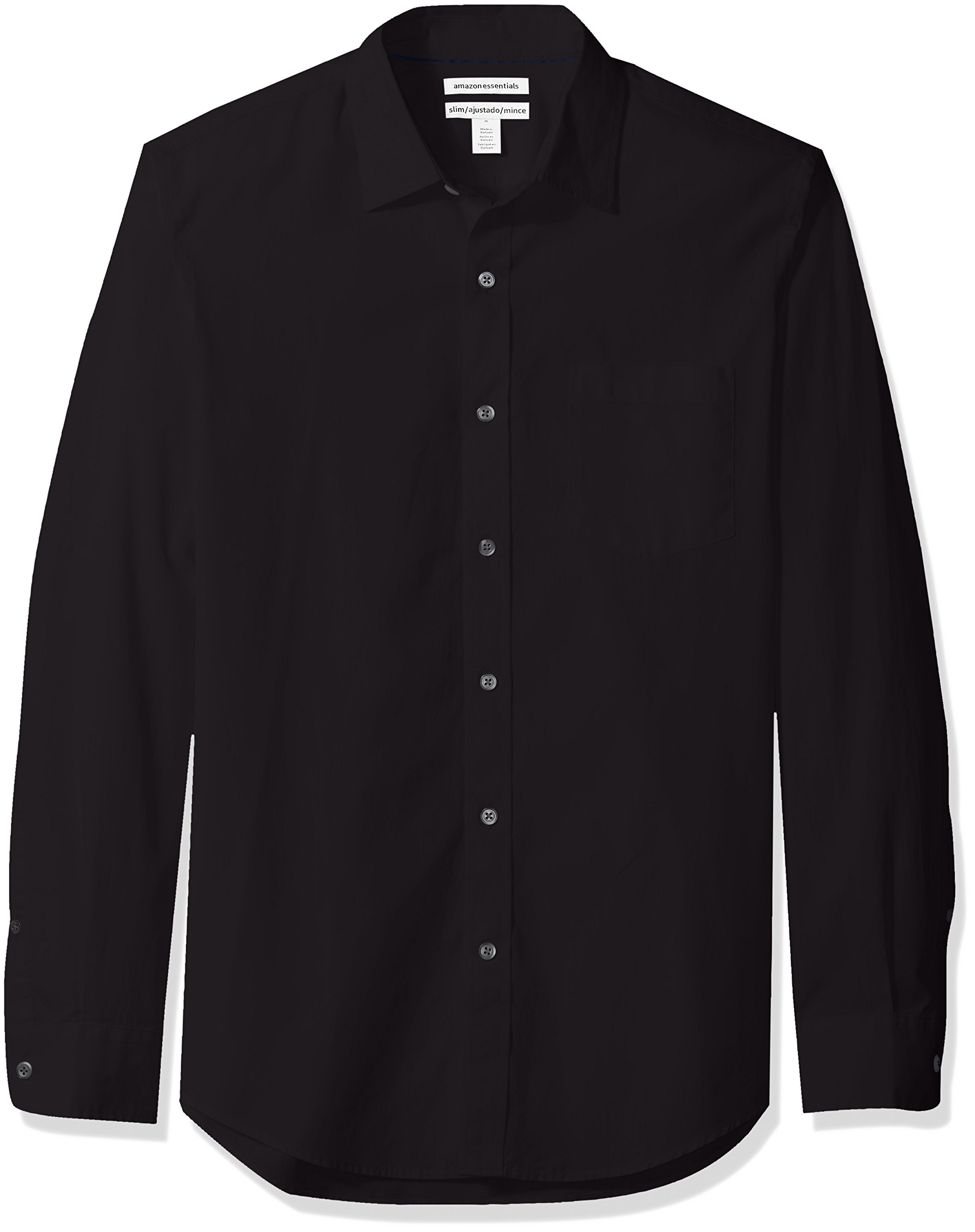 Amazon Essentials Men's Slim-Fit Long-Sleeve Poplin Shirt, Black, Large