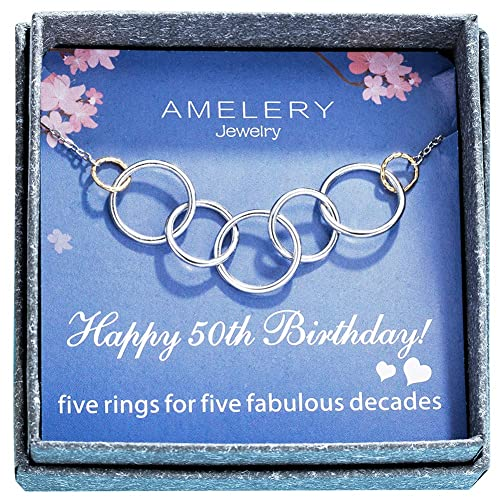 Amazon Amelery Necklace Happy 50th Birthday Gifts Women 5 Pendants Circles Five Decades Fabulous Necklaces Gift Ideas Jewelry For