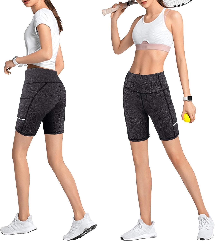 Promover Yoga Pantalons Shorts pour Femmes Leggings Taille Haute avec Poches Contr/ôle du Ventre Leggings de Yoga Extensibles 4 Voies Pantalon dEntra/înement