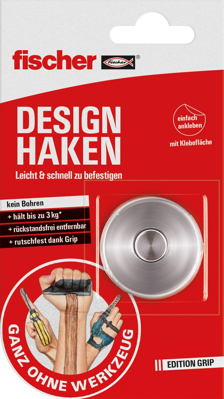 Fischer 545951 Design Hook (3 kg) 1x Complete Set with Design Hooks and Double-Sided Adhesive Surface for Indoor and Outdoor Use Red/White