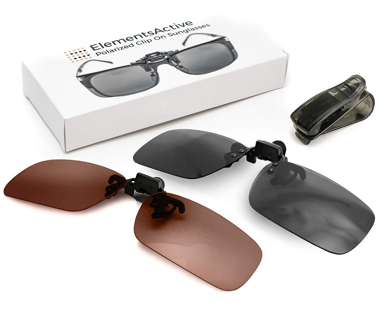 ElementsActive Polarized Clip On Flip Up Sunglasses Set Premium UV400 Anti Glare Driving Fishing Sunglass Fits Over Prescription Rx Glasses ● Reduce Reflections ● Bonus Car Visor Holder