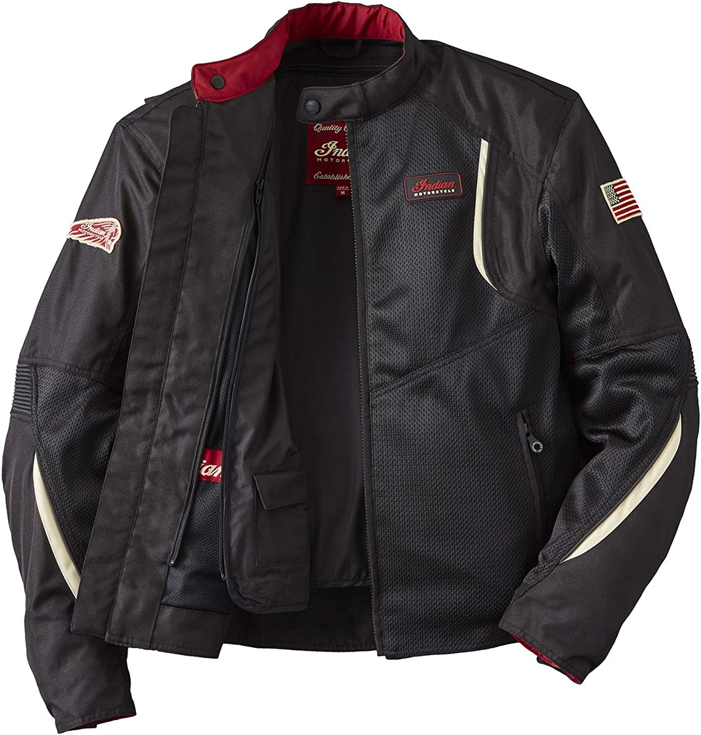 Indian Motorcycle Mens Mesh Springfield 2 Riding Jacket with Removable Lining Black