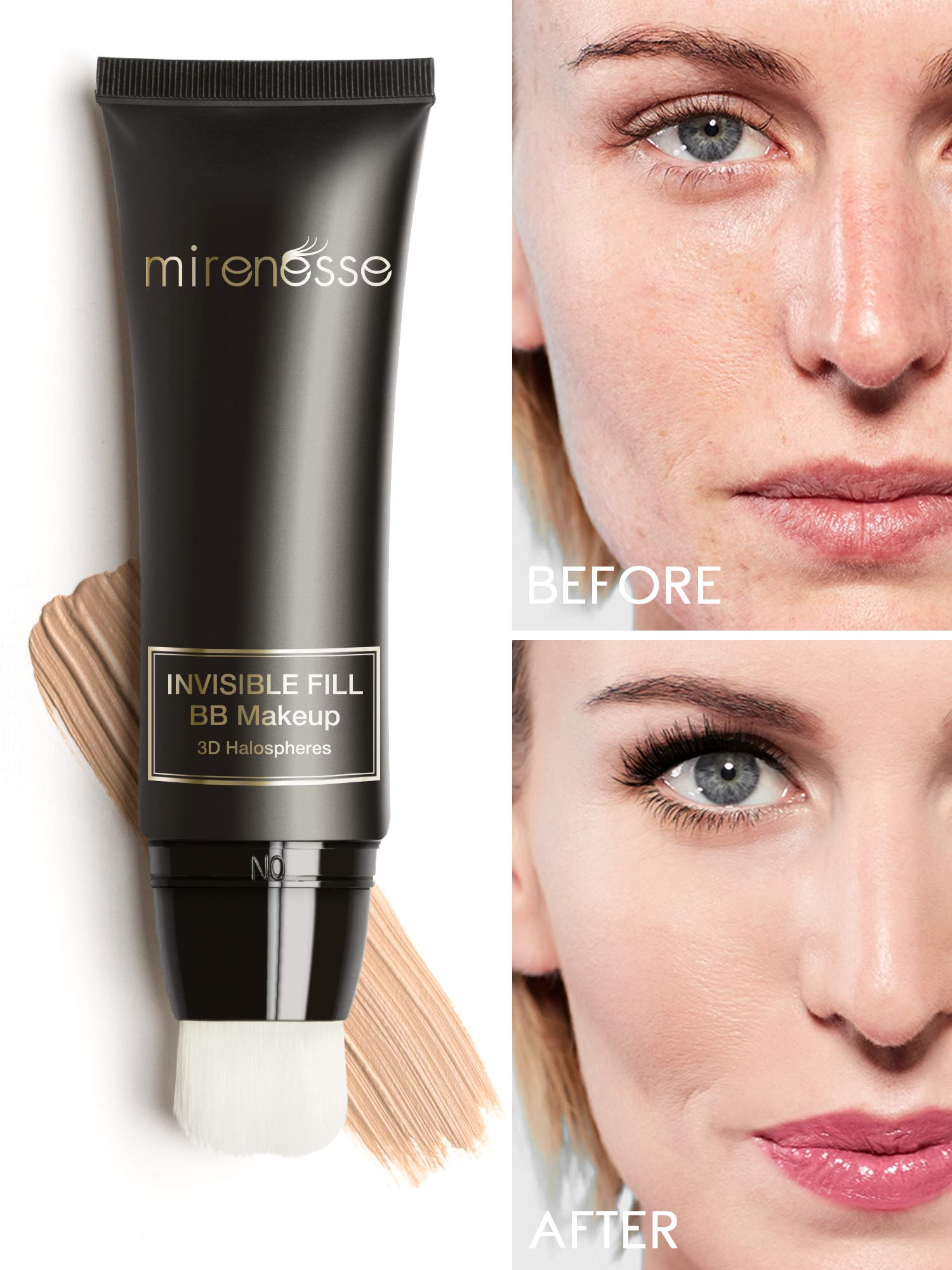 Mirenesse BB Perfect Invisible Fill BB Make Up, Universal Tinted Moisturizer, Primer Airbrush Soft Focus BB Cream, Sensitive Skin Formulation, Vegan & Toxin Free, 1.35oz
