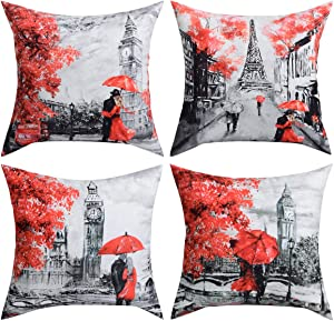 BLEUM CADE 4 Packs Throw Pillow Covers Black Red Color Eiffel Tower Big Ben Modern Couple Under Square Throw Pillow Cover Decorative Pillow Case Home Decor 18 x 18 Inch