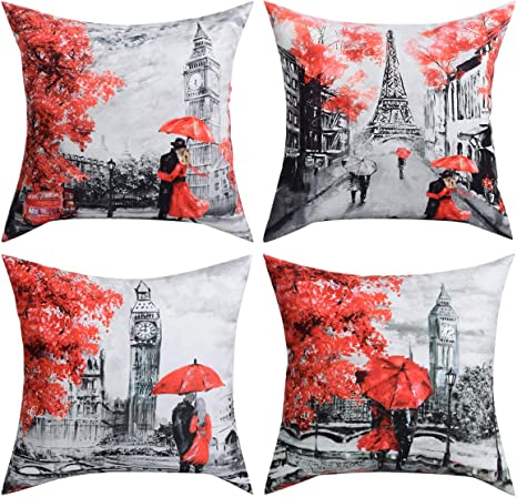 City Landscape View Pillow Case Sofa Throw Waist Cushion Cover Home Decor