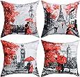 BLEUM CADE 4 Packs Throw Pillow Covers Black & Red Color Eiffel Tower & Big Ben Modern Couple Under Square Throw Pillow Cover Decorative Pillow Case Home Decor