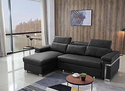 Amazon.com: FUNRELAX Black Corner Sectional Sofas Set ...