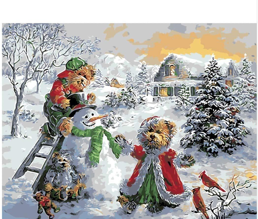 XIGZI Weihnachtsmann Und Geschenk Frohe Frohe Frohe Weihnachten Ölgemälde Bild Nach Zahlen Modul Bild Färbung Von Hand Einzigartiges Geschenk Dekoration 40X50 cm,Mit Holzrahmen,D B07MWCN5YG | Angenehmes Gefühl  538b13