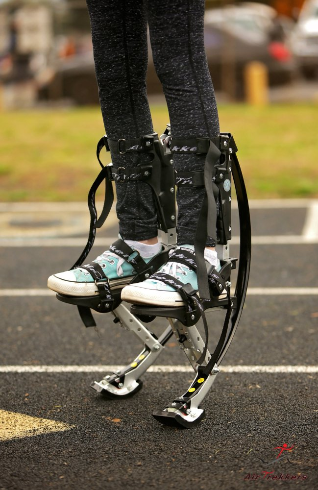 KIDS JUMPING STILTS by AIR TREKKERS Spring Loaded JUMP SHOES are Cool Gifts for Kids Ages 8-12 Develop Valuable Athletic Motor Skills! BOUNCE SHOES FOR KIDS with PROTECTION PADS and Cloth KNEE SUPPORT by Air-Trekkers (Image #2)