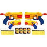 Zuru X-Shot Revolver Combo 4er Pack: 2x Reflex Revolver TK-6 2x Barrel Breaker TK-3 Spielzeugblaster Dartblaster + 48 Softdarts + 4 Dosen