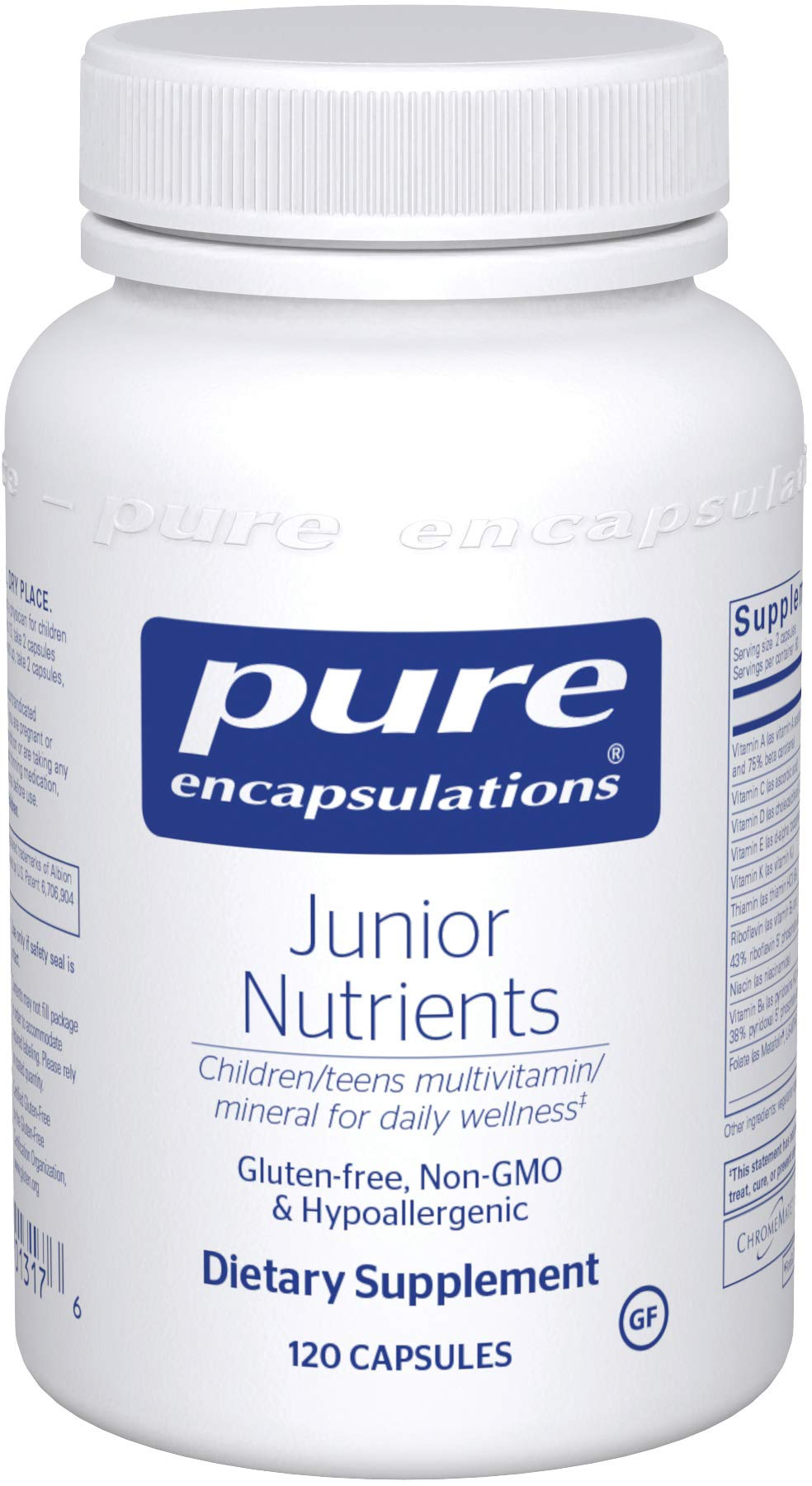 Pure Encapsulations Junior Nutrients | Multivitamin and Mineral Supplement Without Iron for Children Ages 4 and Up* | 120 Capsules